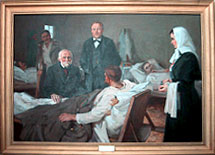 N. Pirogov and S. Botkin at a hospital, 1877. The painting of I. Tikhiy